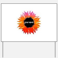 Pink-Orange Flower Yard Sign