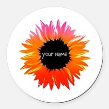 Pink-Orange Flower Round Car Magnet