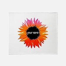 Pink-Orange Flower Throw Blanket