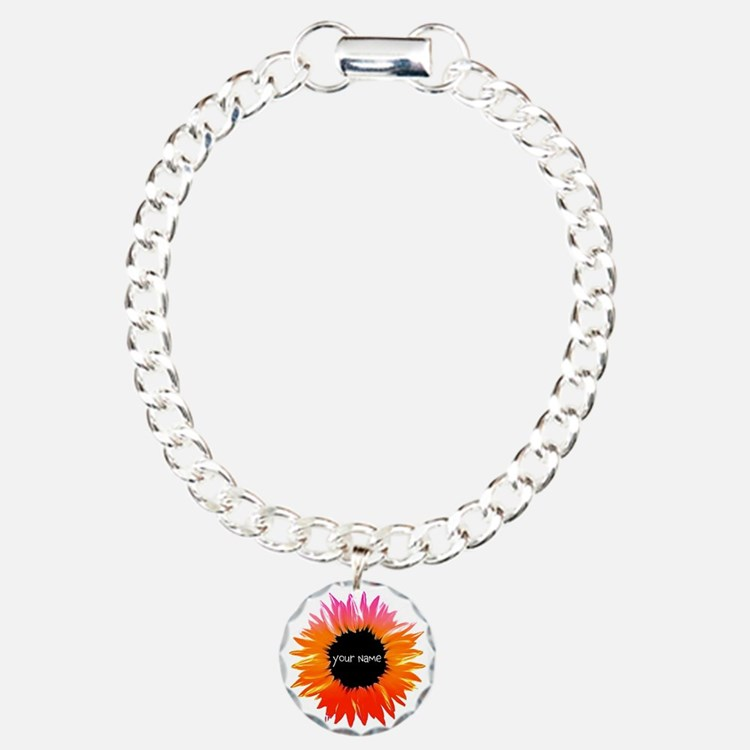 Pink-Orange Flower Charm Bracelet, One Charm
