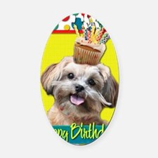 BirthdayCupcakeShihPoo Oval Car Magnet