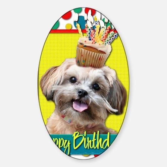 BirthdayCupcakeShihPoo Sticker (Oval)