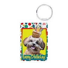 BirthdayCupcakeShihPoo Aluminum Photo Keychain
