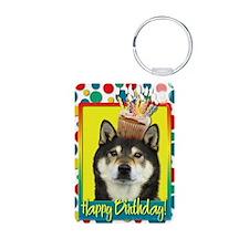BirthdayCupcakeShibaInuYas Aluminum Photo Keychain
