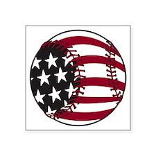 "Flag baseball Square Sticker 3"" x 3"""