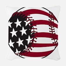 Flag baseball Woven Throw Pillow