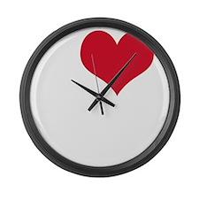 i love sex(blk) Large Wall Clock