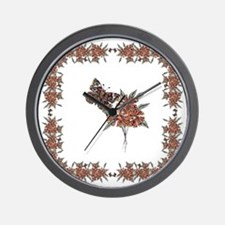 Buckeye Butterfly n Indian Paintbrush2 Wall Clock