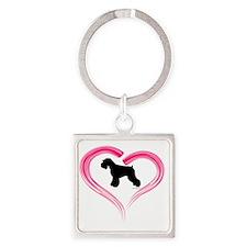 NE Schnauzer Heart Square Keychain