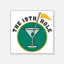 "19th hole Square Sticker 3"" x 3"""