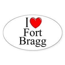 """I Love Fort Bragg"" Oval Decal"