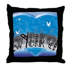 I Heart NYC Blue Throw Pillow