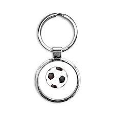 Rather Be Scoring Soccer White Round Keychain