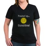 Fueled by Sunshine Women's V-Neck Dark T-Shirt