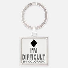 Difficult_Ski_Colorado Square Keychain