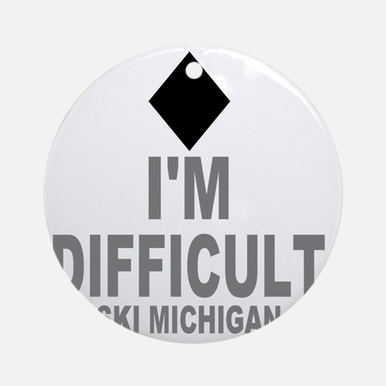 Difficult_Ski_mICHIGAN Round Ornament