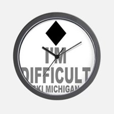 Difficult_Ski_mICHIGAN Wall Clock