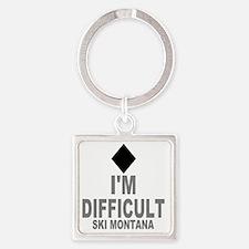 Difficult_Ski_mONTANA Square Keychain