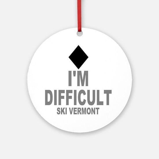 Difficult_Ski_VERMONT Round Ornament