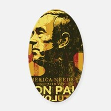 Ron Paul Distressed Poster 2009 Oval Car Magnet