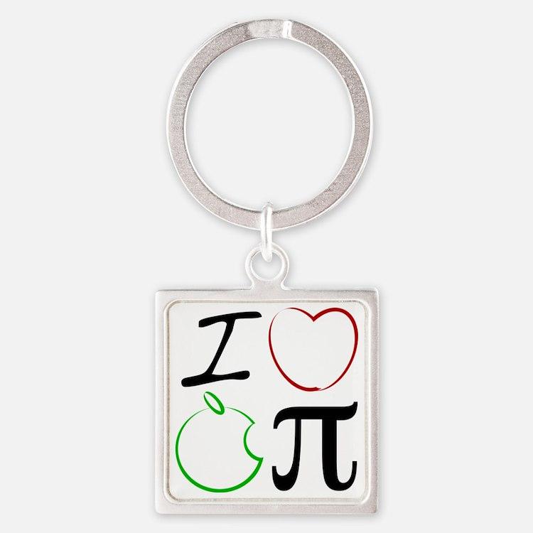I Love Apple Pi Square Keychain