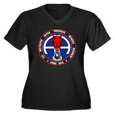 Devil 1-504  Women's Plus Size Dark V-Neck T-Shirt