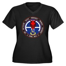 Devil 2-504  Women's Plus Size Dark V-Neck T-Shirt