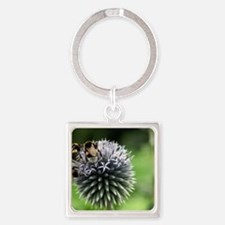 bees meet on a flower Square Keychain