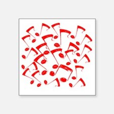 """MUSICAL NOTES RED III Square Sticker 3"""" x 3"""""""