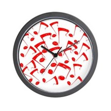 MUSICAL NOTES RED III Wall Clock