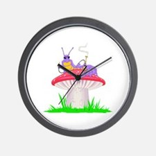 Caterpillar on Mushroom Wall Clock