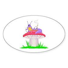 Caterpillar on Mushroom Oval Decal