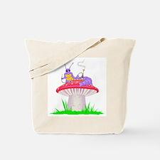 Caterpillar on Mushroom Tote Bag