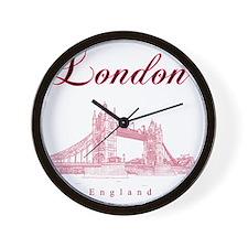 London_10x10_TowerBridge_BlackRed Wall Clock