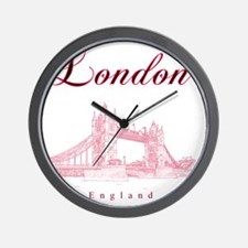London_10x10_TowerBridge_BlackRed Wall Clock