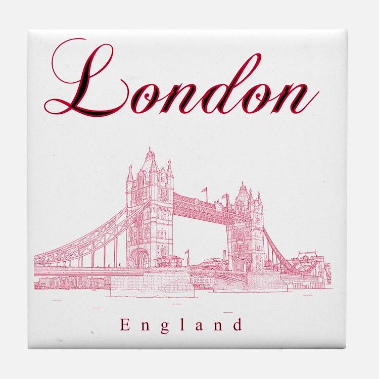 London_10x10_TowerBridge_BlackRed Tile Coaster