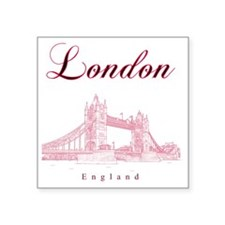 "London_10x10_TowerBridge_Bl Square Sticker 3"" x 3"""