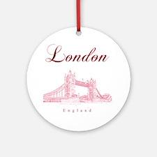 London_10x10_TowerBridge_BlackRed Round Ornament