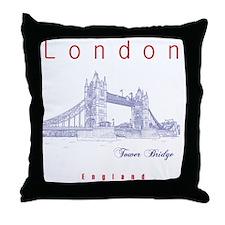 London_10x10_TowerBridge_BlueRed Throw Pillow