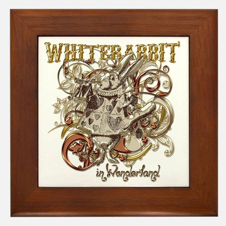 whiterabbit-flourishes-gold Framed Tile