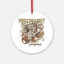 whiterabbit-flourishes-gold Round Ornament