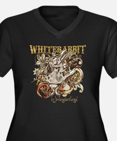 whiterabbit- Women's Plus Size Dark V-Neck T-Shirt