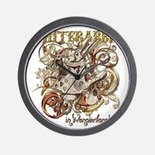 whiterabbit-flourishes-gold Wall Clock