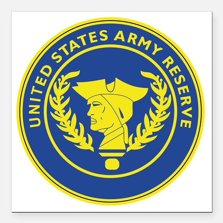"""Army Reserve Seal Square Car Magnet 3"""" x 3"""""""