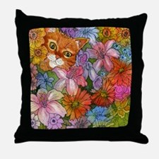 Cat Among the Flowers Throw Pillow