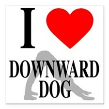 "I heart downward dog Square Car Magnet 3"" x 3"""