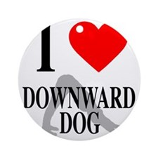 I heart downward dog Round Ornament