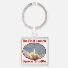 space_shuttle_final_launch_transpa Square Keychain