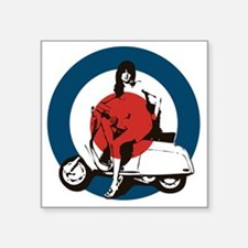 """Scooter Girl Square Sticker 3"""" x 3"""""""