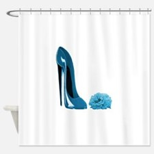 Periwinkle blue stiletto shoe and r Shower Curtain